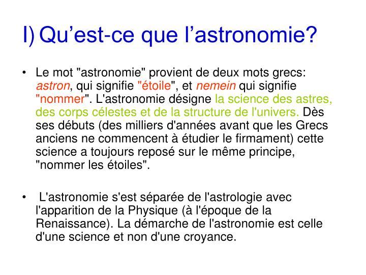 I qu est ce que l astronomie