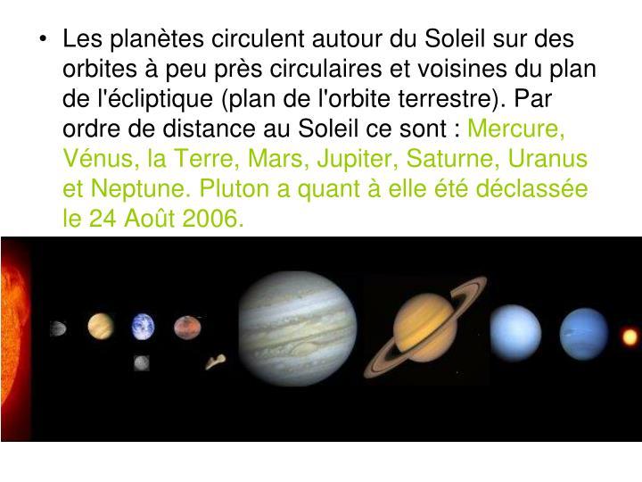 Les planètes circulent autour du Soleil sur des orbites à peu près circulaires et voisines du plan de l'écliptique (plan de l'orbite terrestre). Par ordre de distance au Soleil ce sont: