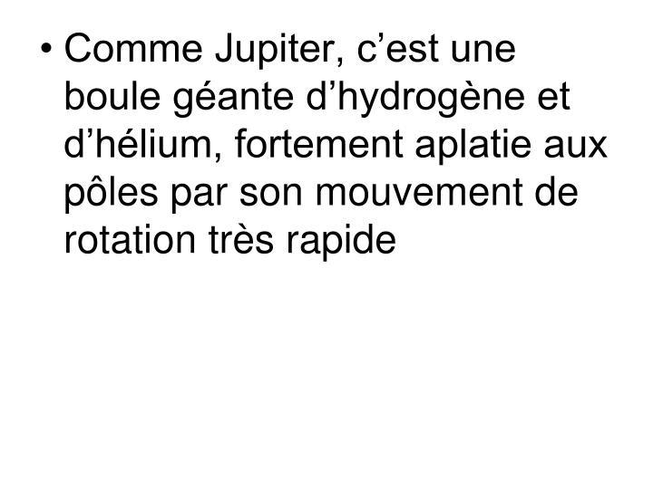 Comme Jupiter, c'est une boule géante d'hydrogène et d'hélium, fortement aplatie aux pôles par son mouvement de rotation très rapide