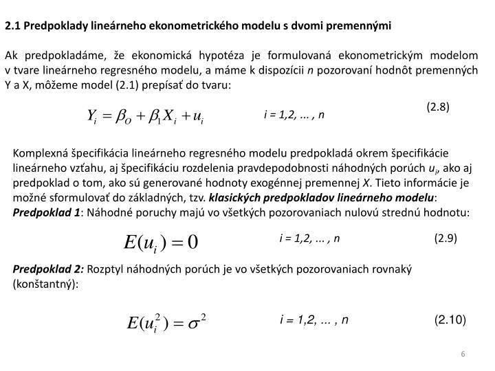 2.1 Predpoklady lineárneho ekonometrického modelu sdvomi premennými