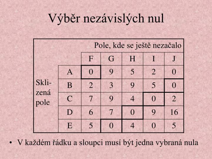 V každém řádku a sloupci musí být jedna vybraná nula