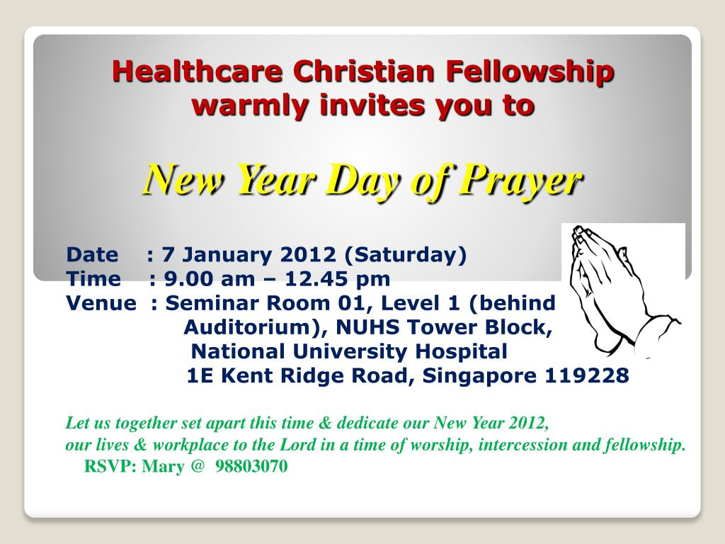 PPT - Healthcare Christian Fellowship warmly invites you to New Year ...