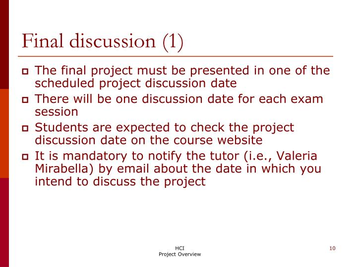 Final discussion (1)