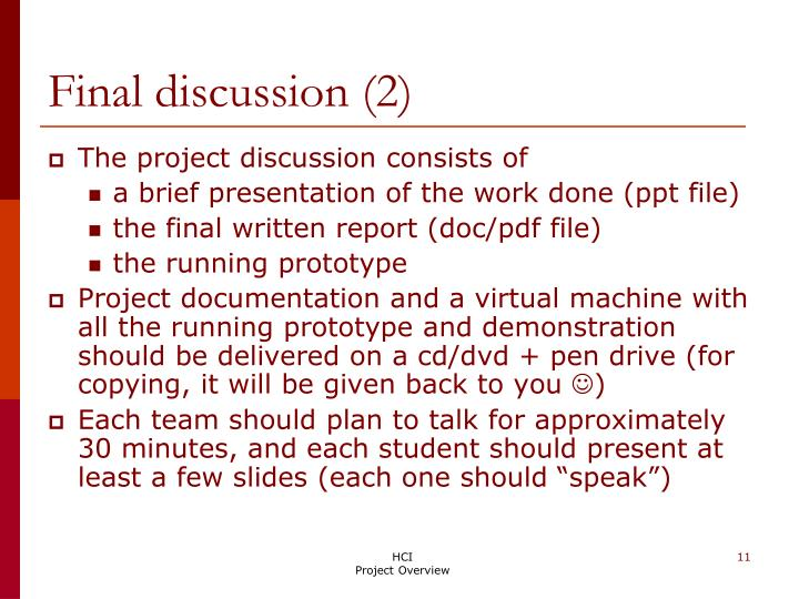 Final discussion (2)
