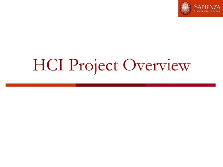 HCI Project Overview
