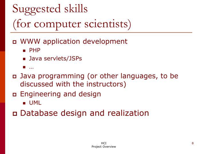 Suggested skills