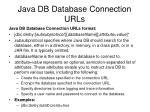 java db database connection urls