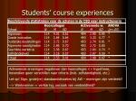 students course experiences