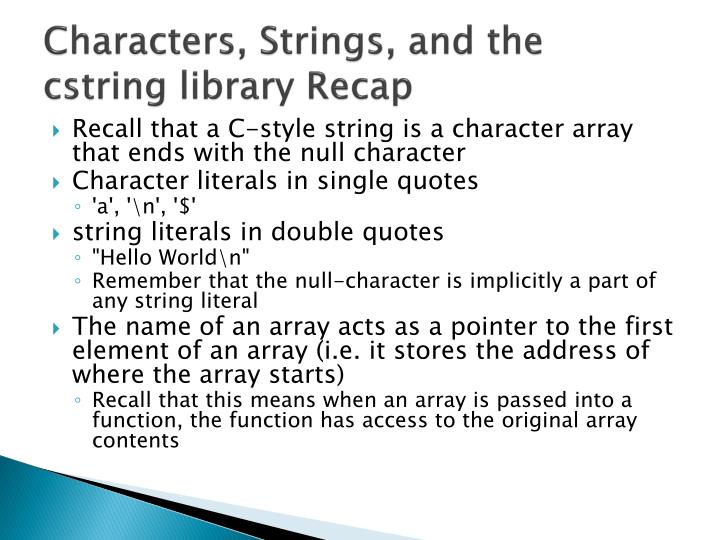 Characters, Strings, and the