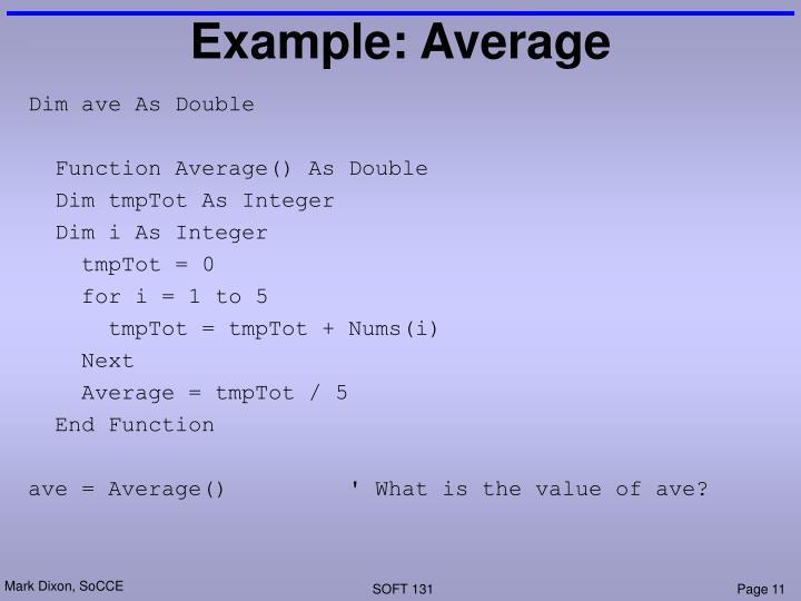 Example: Average
