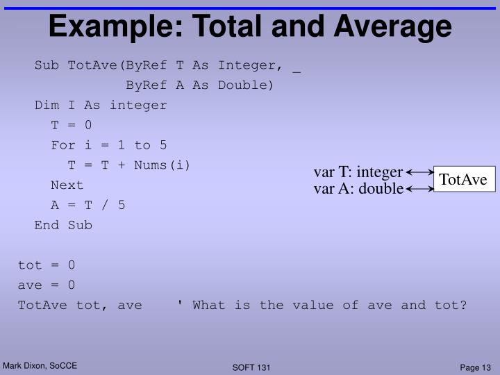 Example: Total and Average