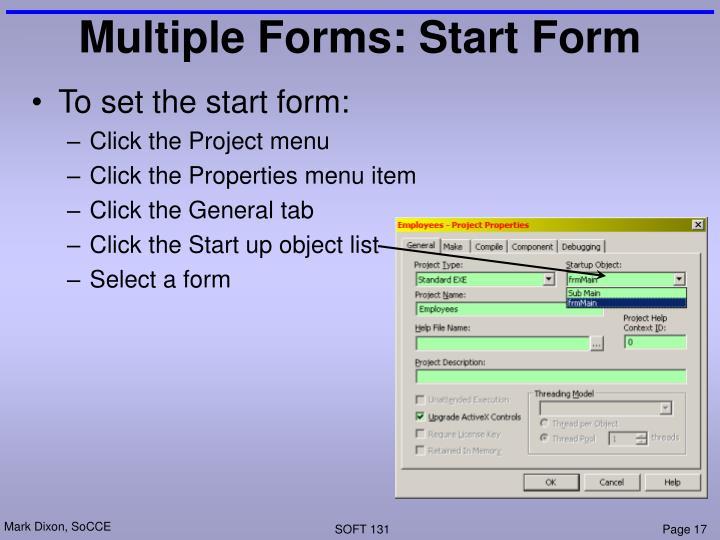 Multiple Forms: Start Form