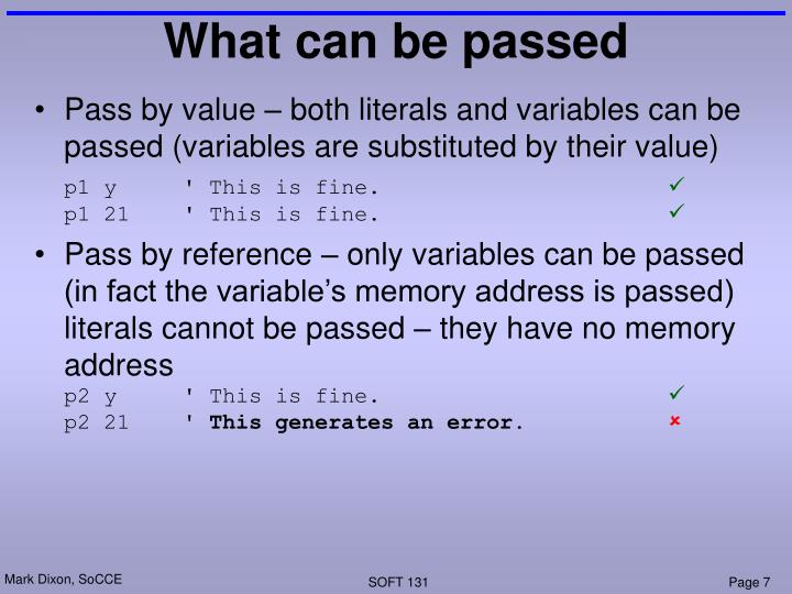 What can be passed
