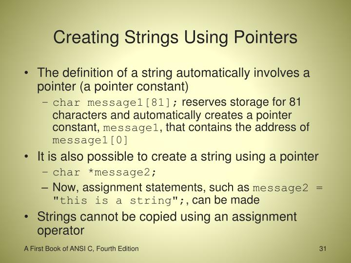 Creating Strings Using Pointers