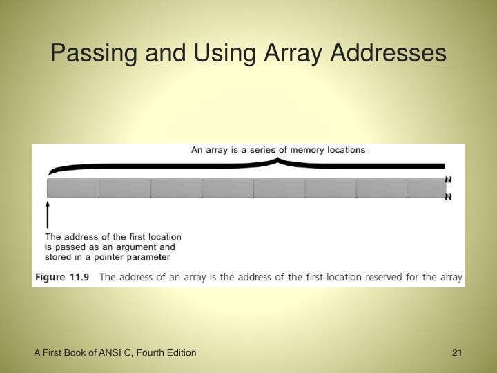 Passing and Using Array Addresses