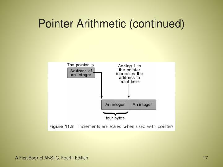 Pointer Arithmetic (continued)
