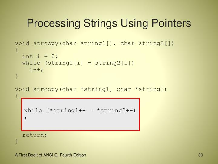 Processing Strings Using Pointers