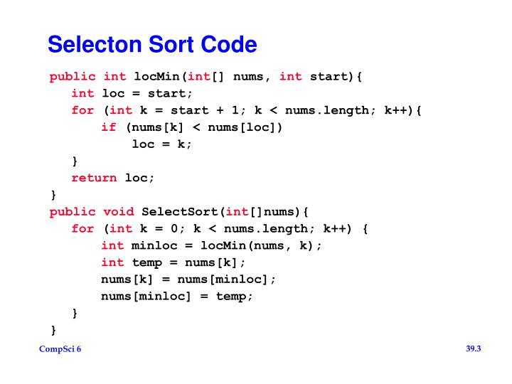Selecton sort code