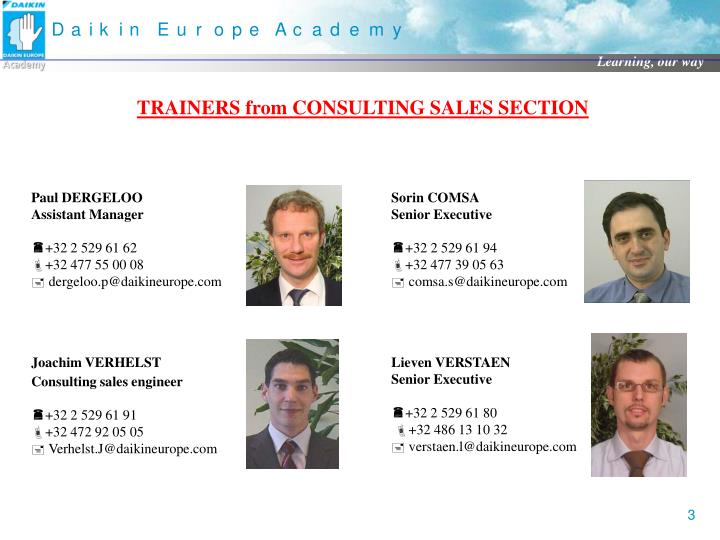 TRAINERS from CONSULTING SALES SECTION