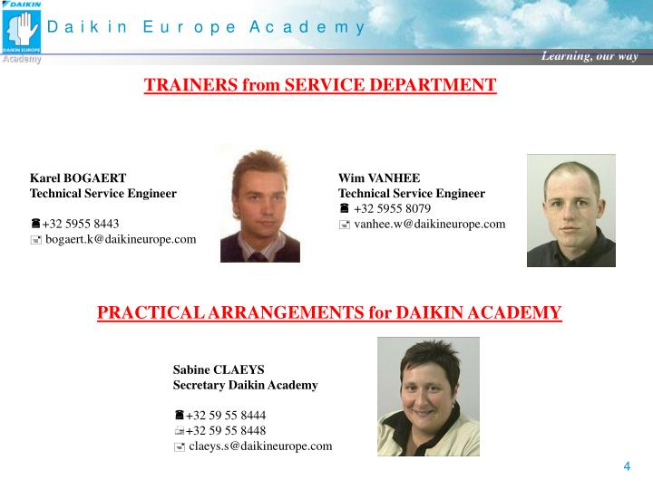 TRAINERS from SERVICE DEPARTMENT
