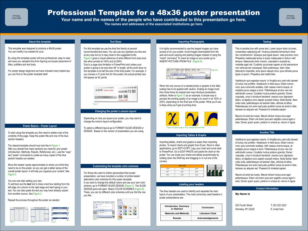 ppt professional template for a 48x36 poster presentation