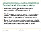 l e gouvernement accro t la comp titivit conomique du gouvernement local