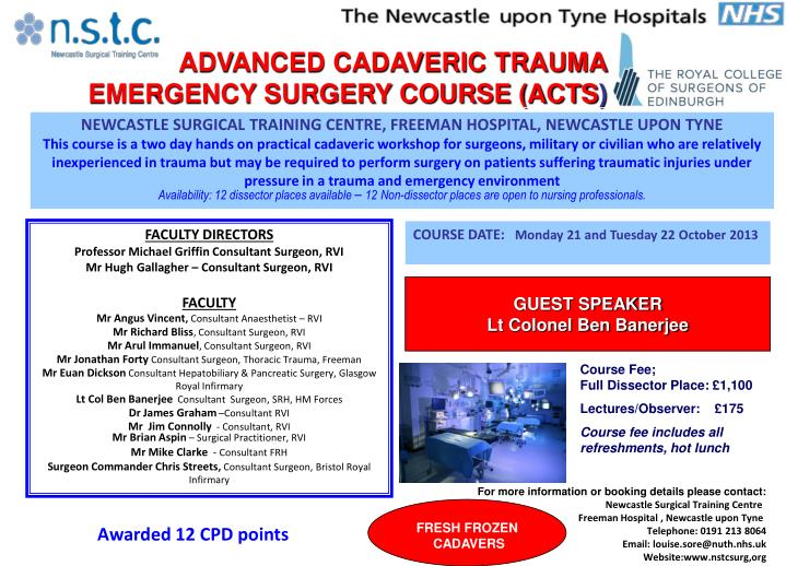 PPT - ADVANCED CADAVERIC TRAUMA EMERGENCY SURGERY COURSE (ACTS