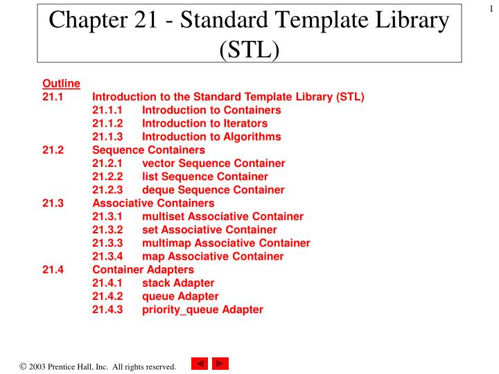 chapter 21 standard template library stl n.