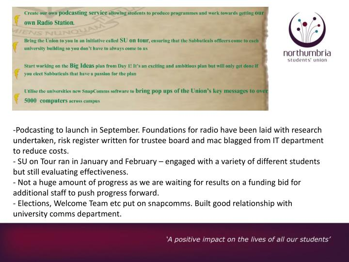 Podcasting to launch in September. Foundations for radio have been laid with research undertaken, ri...