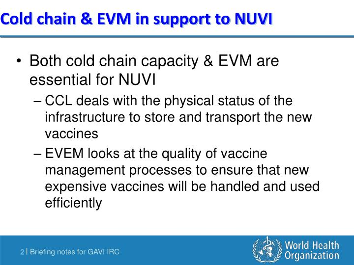 Cold chain evm in support to nuvi
