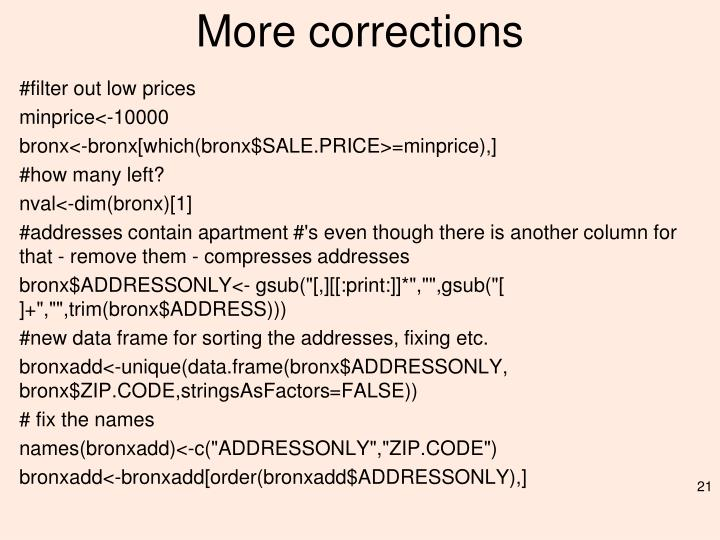 More corrections