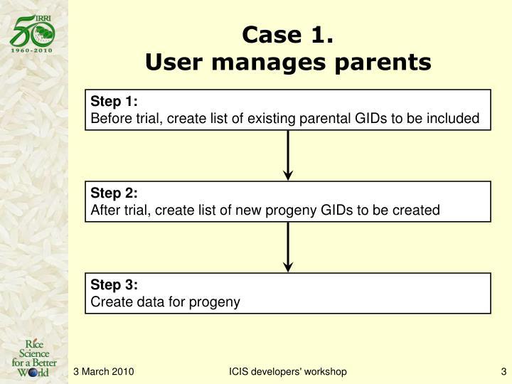 Case 1 user manages parents