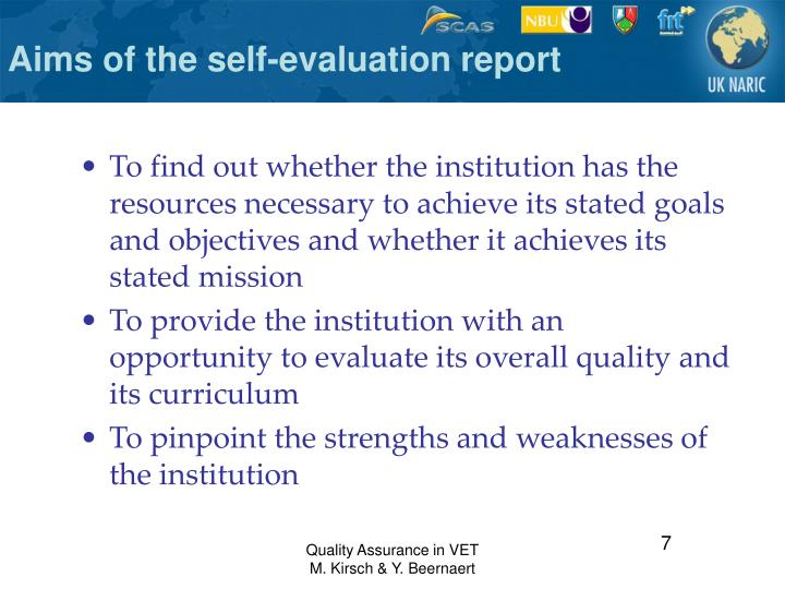 Aims of the self-evaluation report