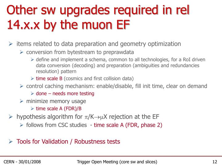 Other sw upgrades required in rel 14.x.x by the muon EF