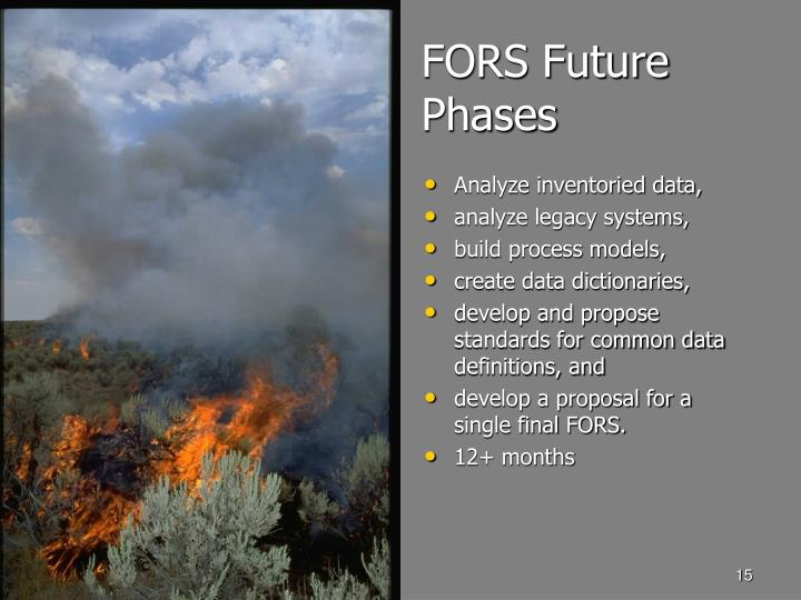 FORS Future Phases