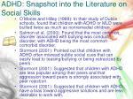 adhd snapshot into the literature on social skills2