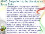 adhd snapshot into the literature on social skills3