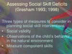 assessing social skill deficits gresham 1993 1998