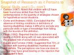 snapshot of research as it pertains to social skills and ld con t