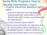 social skills programs how to develop intervention con t