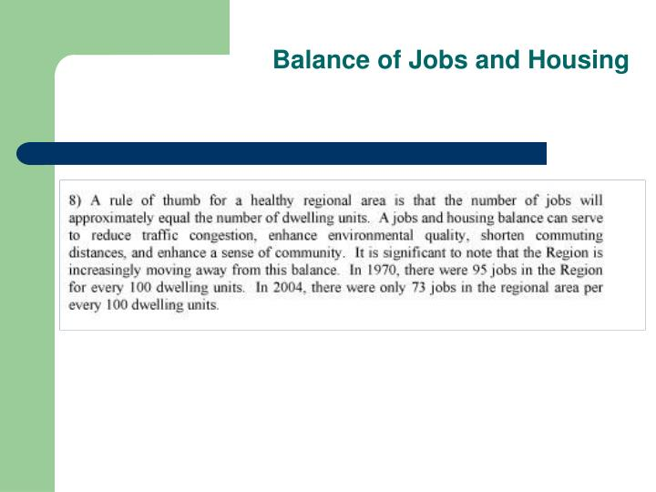 Balance of Jobs and Housing