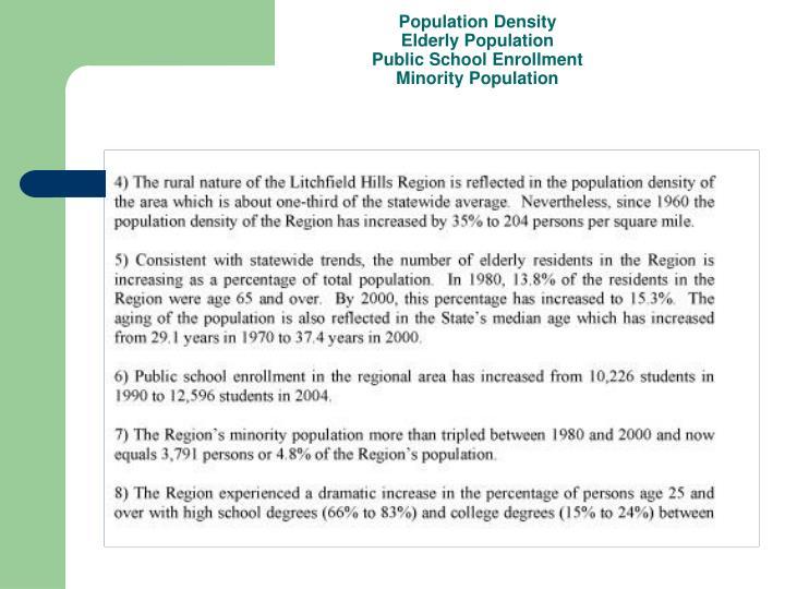 Population density elderly population public school enrollment minority population