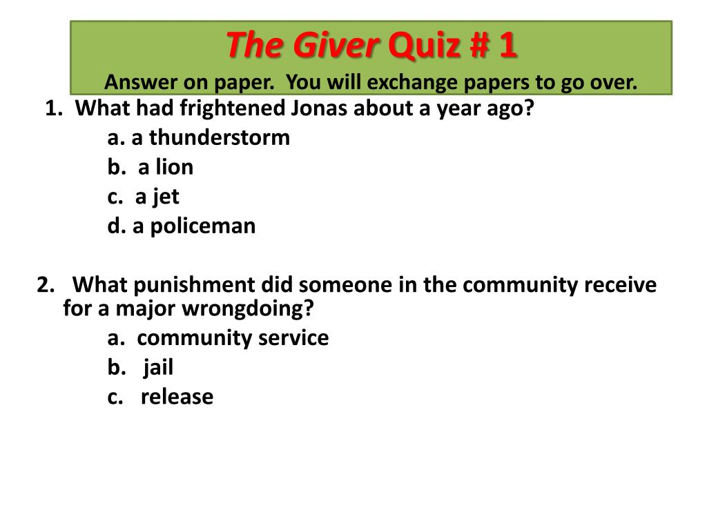 PPT - The Giver by Lois Lowry Day 2 PowerPoint Presentation - ID:4475913