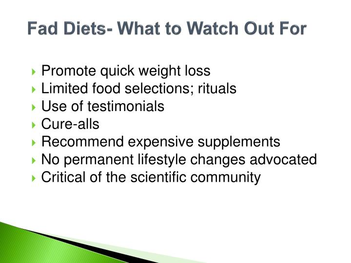 Fad Diets- What to Watch Out For