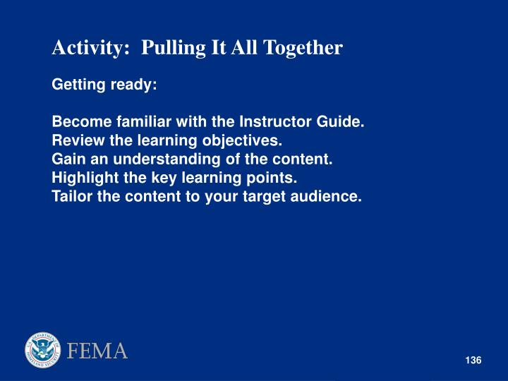 Activity:  Pulling It All Together