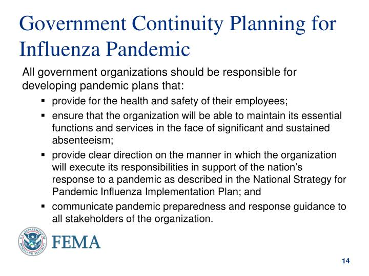 Government Continuity Planning for Influenza Pandemic