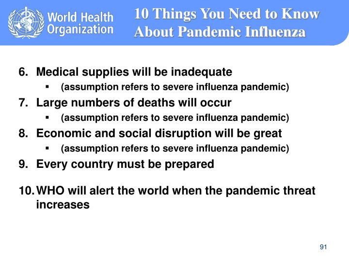 10 Things You Need to Know About Pandemic Influenza