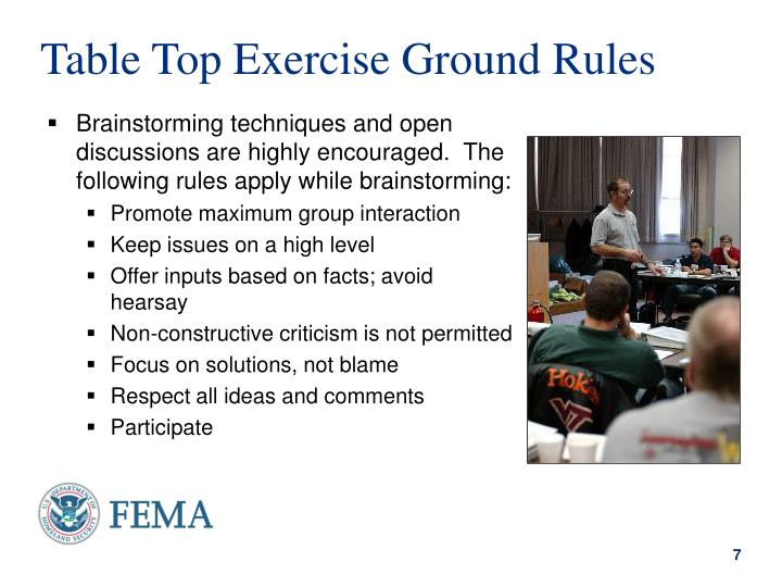 Table Top Exercise Ground Rules
