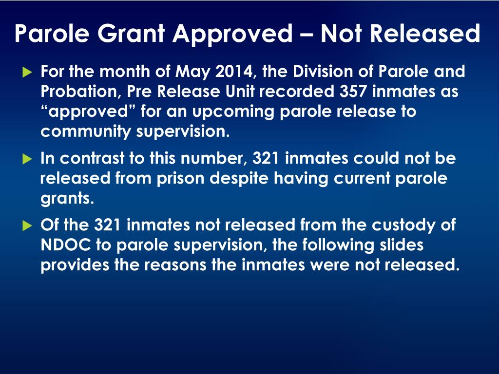 PPT - Nevada Department of Public Safety Division of Parole and