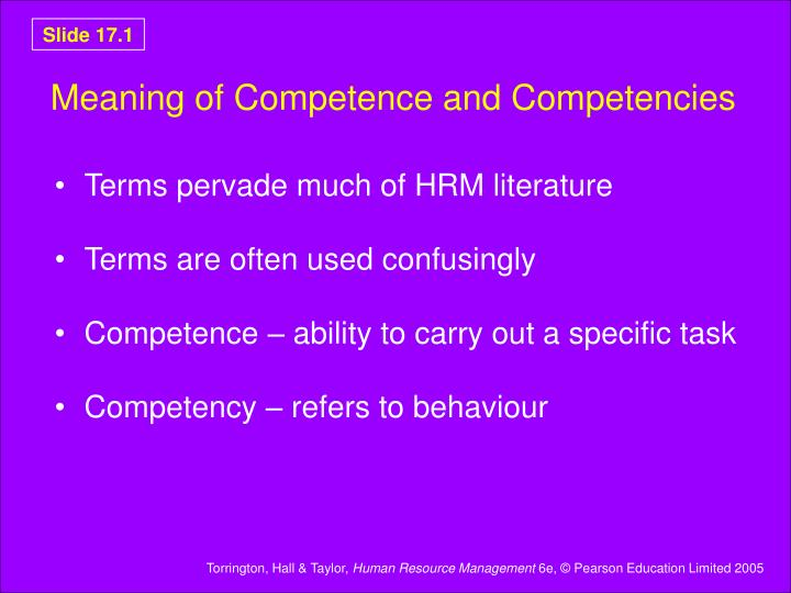 meaning of competence and competencies n.
